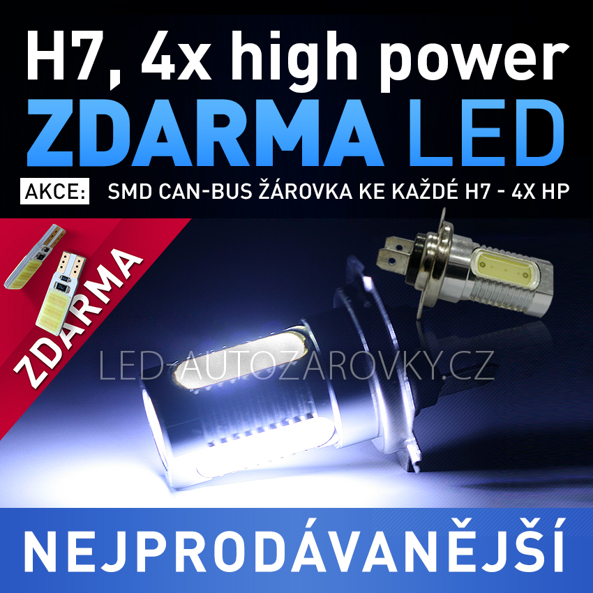 LED autožárovka 12V s paticí H7, 4x High Power LED, 1ks