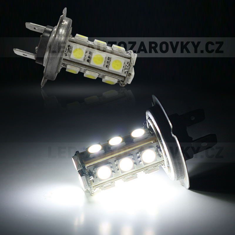 LED žárovka 12V s paticí H7, 18 SMD LED, 1ks