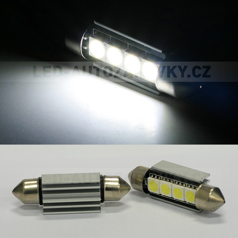 CAN-BUS sufitka bílá - Super Light, 4 SMD LED, 41mm, 1ks