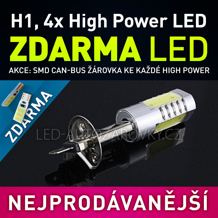 AKCE - LED SMD žárovka 12V s paticí H1, 4x High Power LED, 1ks