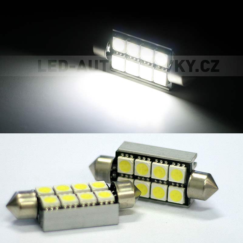 CAN-BUS sufitka bílá - Super Light, 8 SMD LED, 41mm, 1ks
