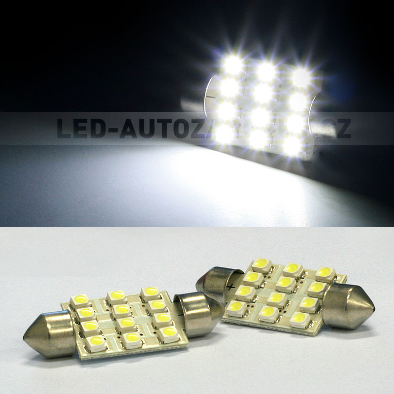 CAN-BUS sufitka bílá - Super Light, 12 SMD LED, 36mm, 1ks