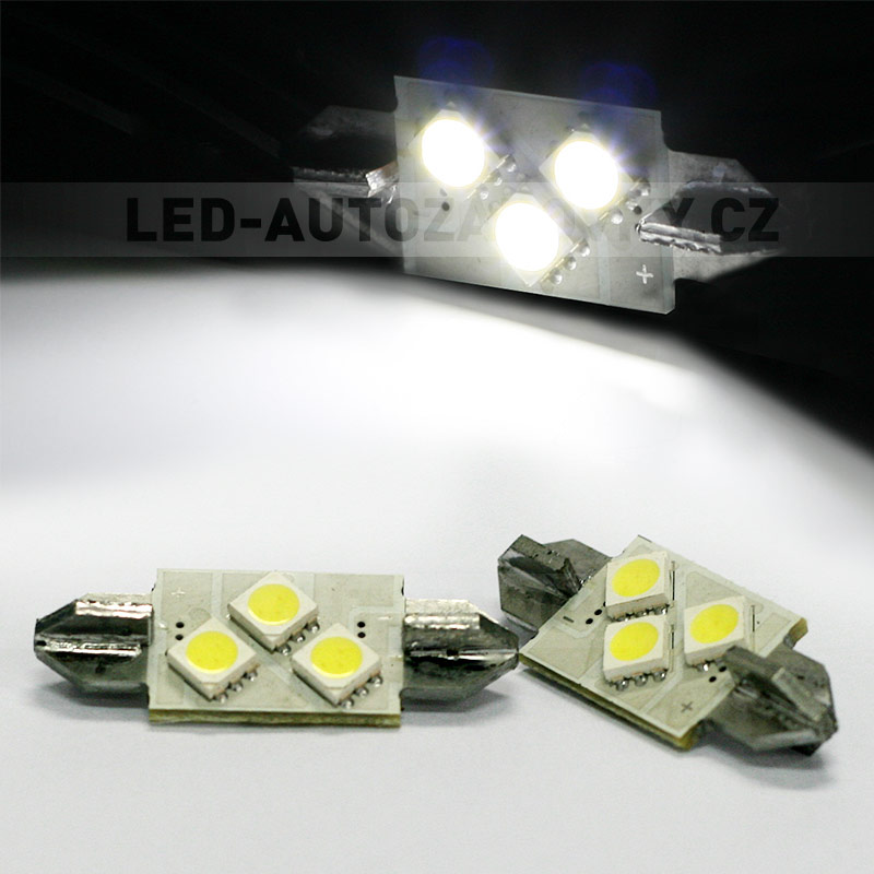 CAN-BUS sufitka bílá - Super Light, 3x SMD LED TRIANGLE, 36mm, 1ks