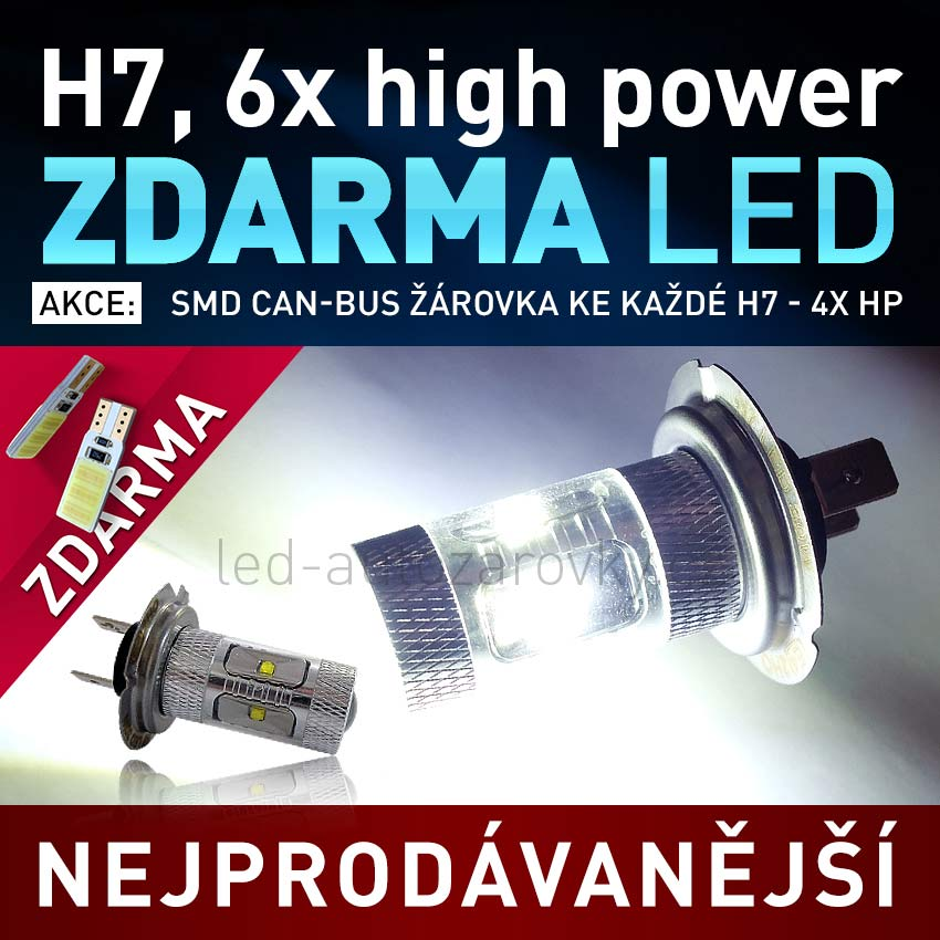 AKCE - LED žárovka 12V s paticí H7, 6x High Power LED, 1ks