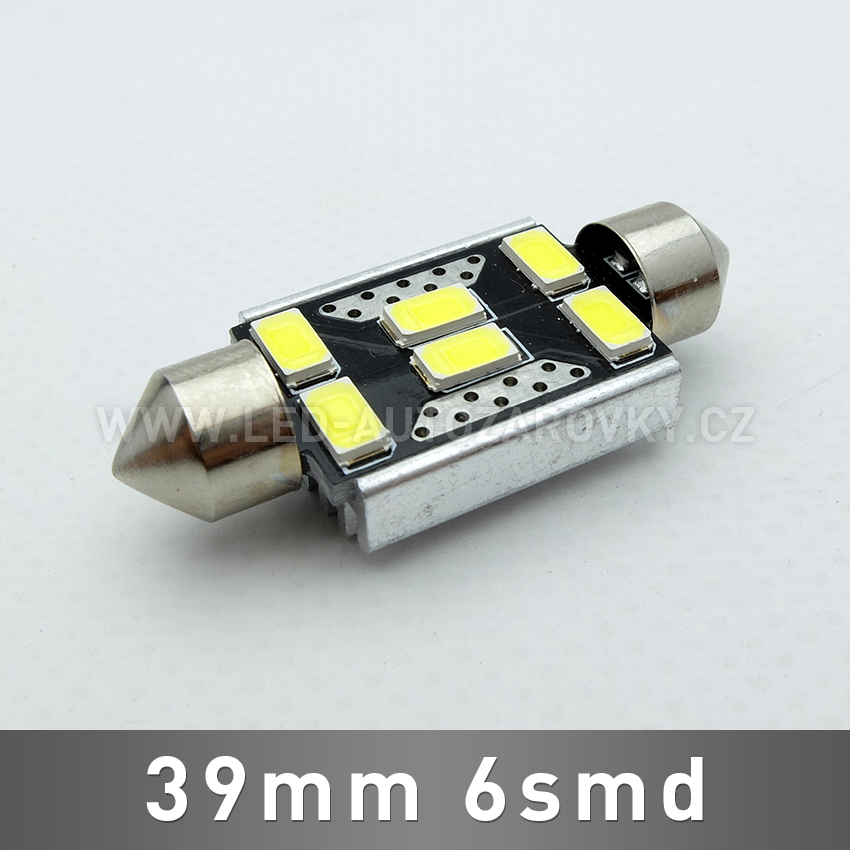 CAN-BUS sufitka bílá - Super Light, 6SMD LED, 39mm, 1ks