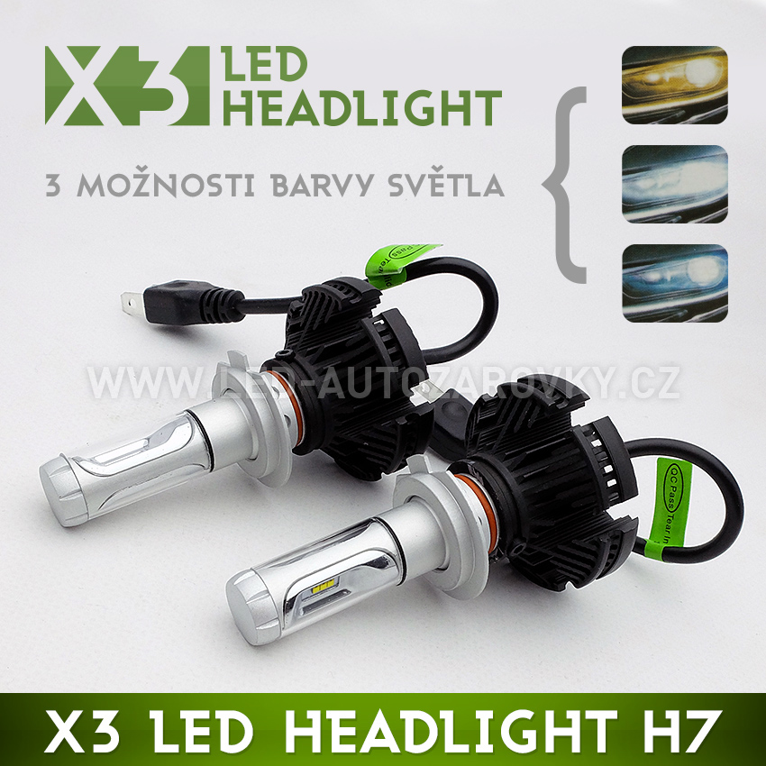 LED HEADLIGHT H7 - X3 6000LM 50W IP67 - 3000K / 6500K / 8000K